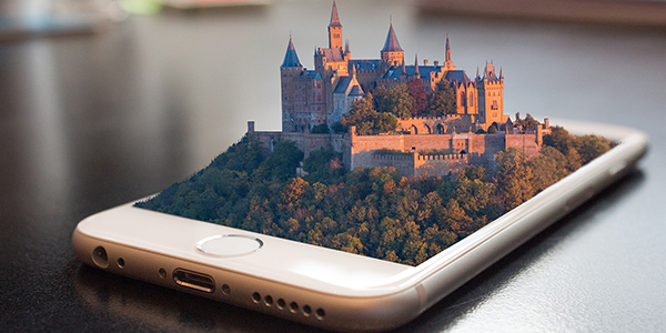 Screen of a smartphone which projects 3D castle