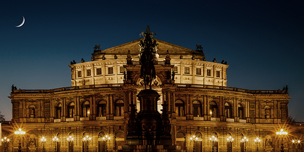 Dresden Opera House and monument to King Johann of Saxony on horseback