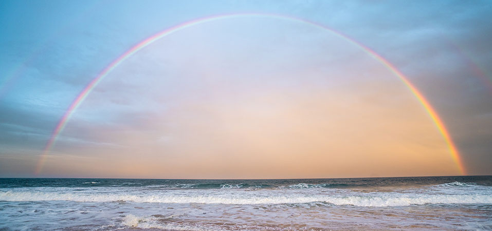 Rainbow, sea, beach