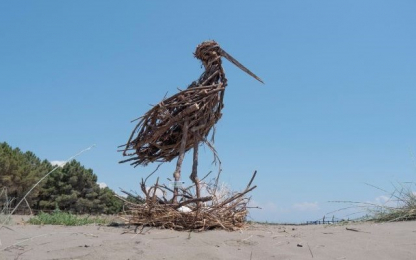 bird made with wooden twigs