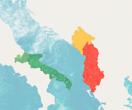 Map of participating States in Interreg: Italy - Albania - Montenegro